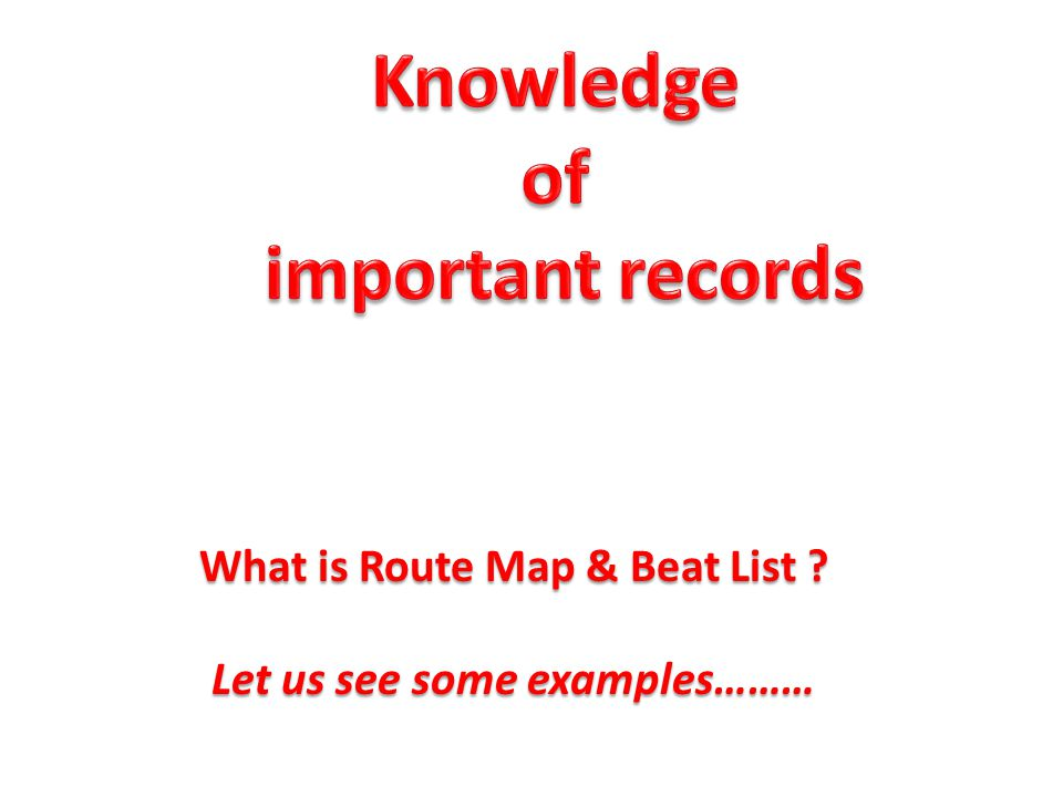 What is Route Map & Beat List ? Let us see some examples………