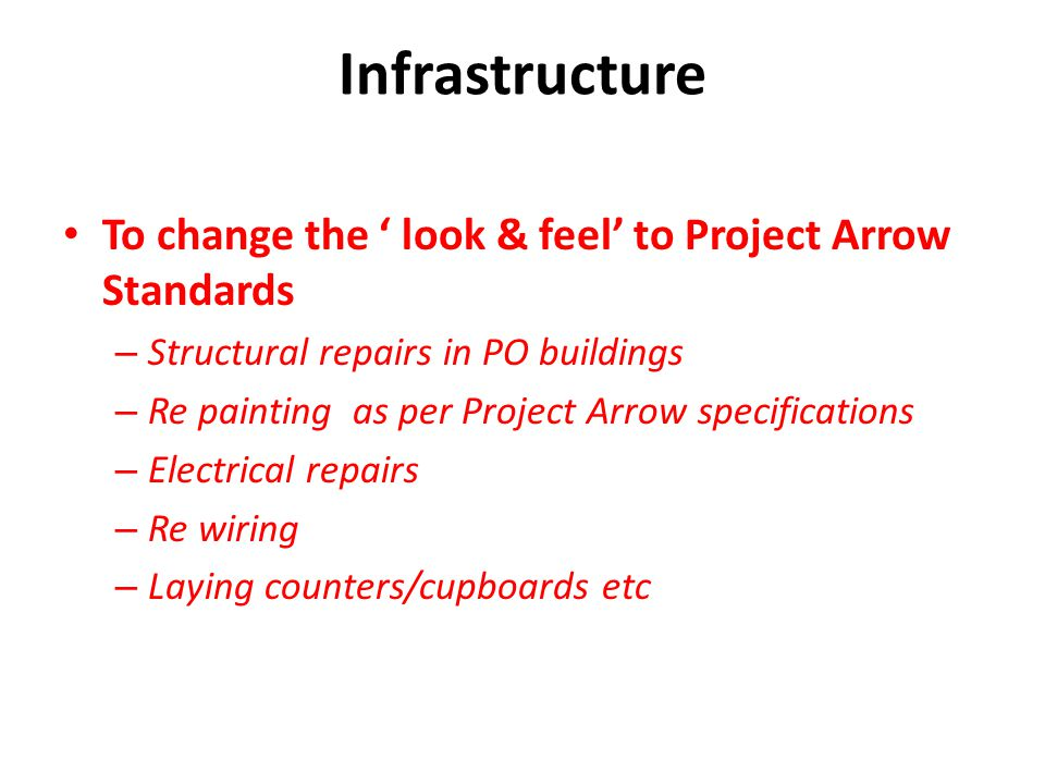 Infrastructure To change the look & feel to Project Arrow Standards – Structural repairs in PO buildings – Re painting as per Project Arrow specificat