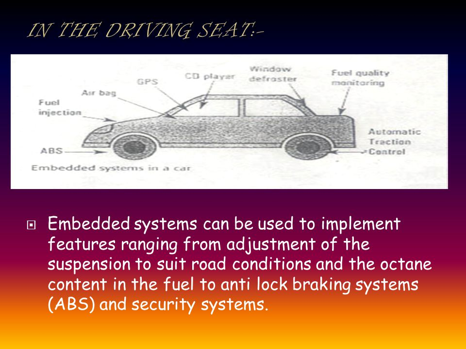 Embedded systems can be used to implement features ranging from adjustment of the suspension to suit road conditions and the octane content in the fuel to anti lock braking systems (ABS) and security systems.