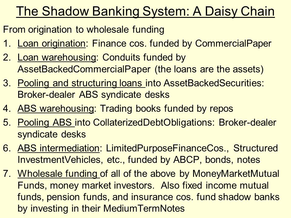 The Shadow Banking System: A Daisy Chain From origination to wholesale funding 1.Loan origination: Finance cos. funded by CommercialPaper 2.Loan wareh