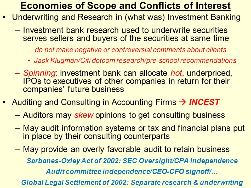 Economies of Scope and Conflicts of Interest Underwriting and Research in (what was) Investment Banking –Investment bank research used to underwrite s