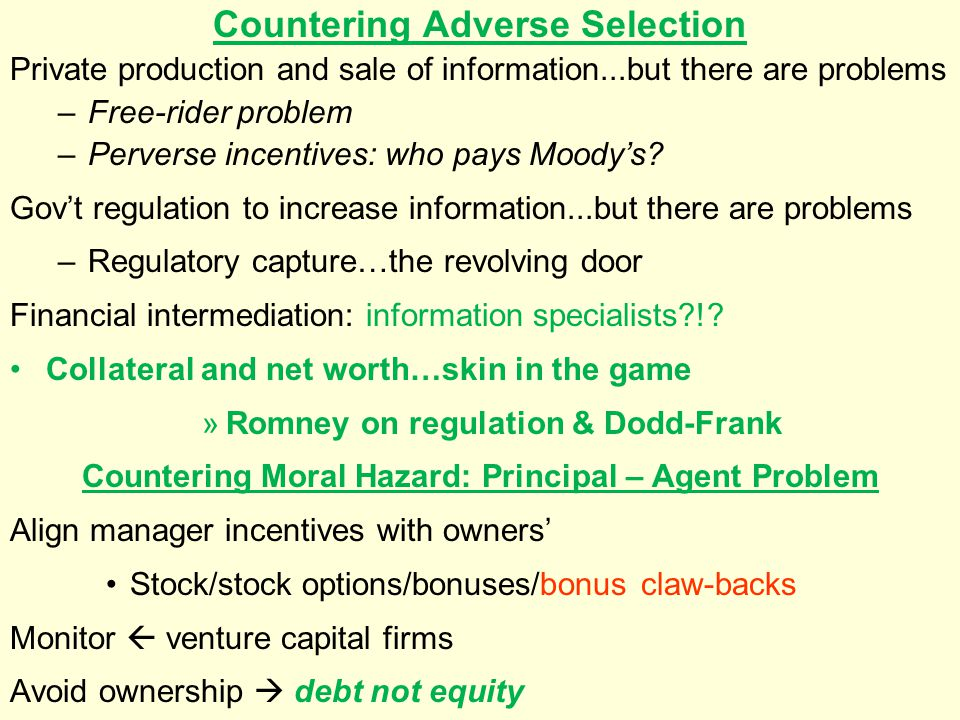 Countering Adverse Selection Private production and sale of information...but there are problems –Free-rider problem –Perverse incentives: who pays Mo