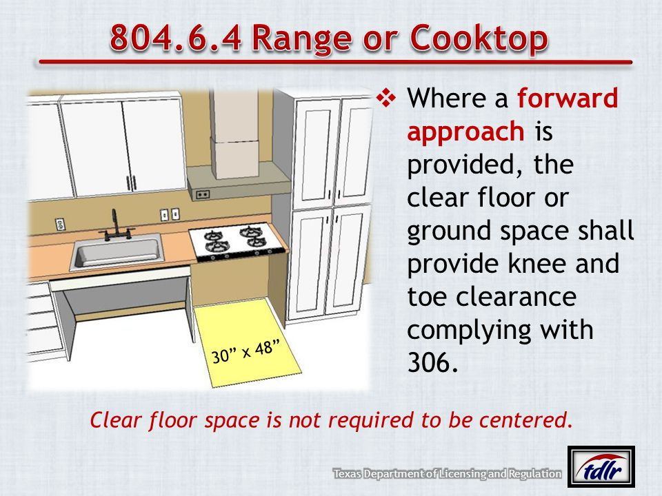 Where a forward approach is provided, the clear floor or ground space shall provide knee and toe clearance complying with 306. Clear floor space is no