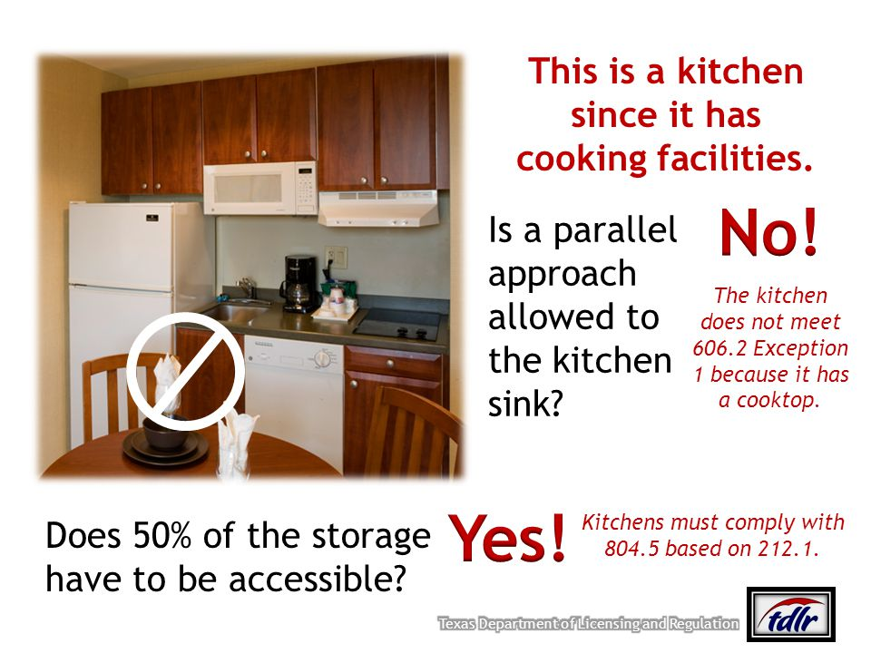 This is a kitchen since it has cooking facilities. Is a parallel approach allowed to the kitchen sink? Does 50% of the storage have to be accessible?