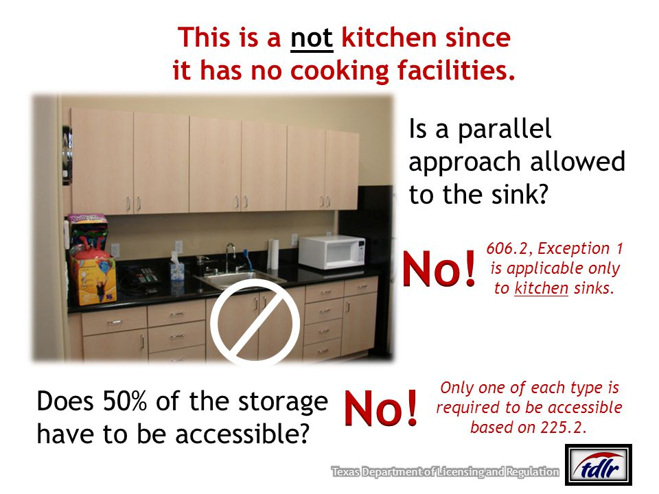 This is a not kitchen since it has no cooking facilities. Is a parallel approach allowed to the sink? Does 50% of the storage have to be accessible? 6