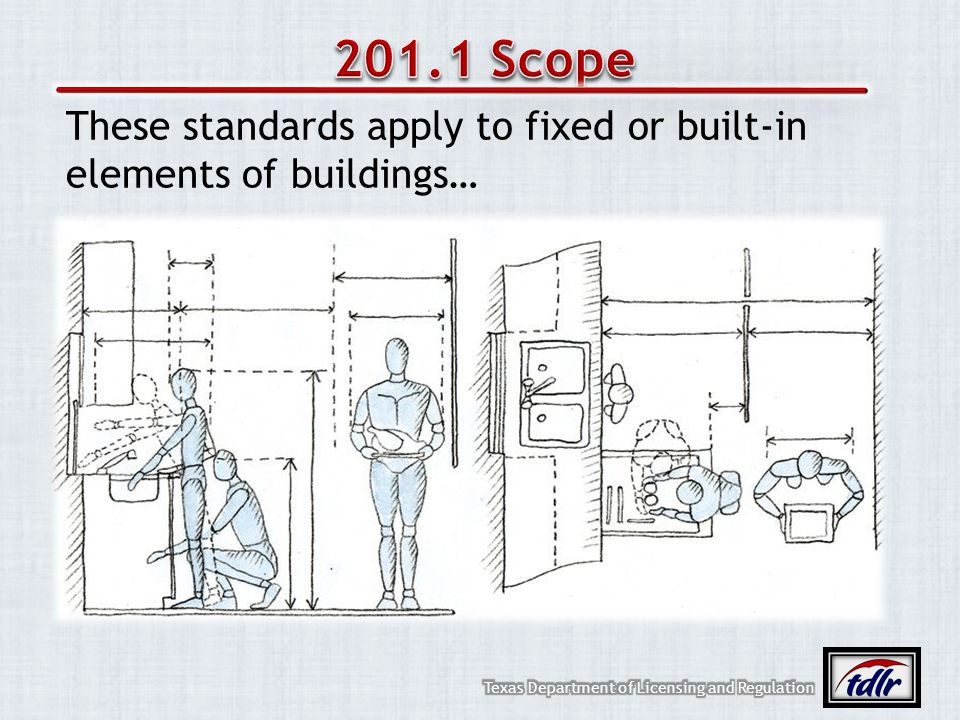 These standards apply to fixed or built-in elements of buildings…