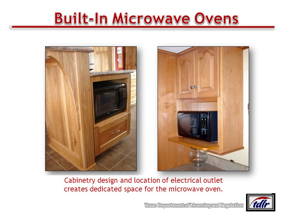 Cabinetry design and location of electrical outlet creates dedicated space for the microwave oven.
