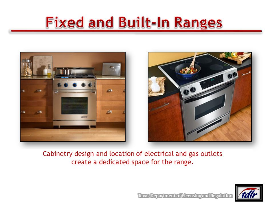 Cabinetry design and location of electrical and gas outlets create a dedicated space for the range.