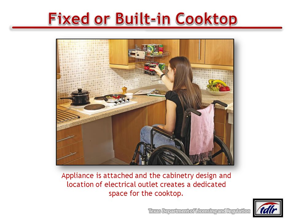 Appliance is attached and the cabinetry design and location of electrical outlet creates a dedicated space for the cooktop.
