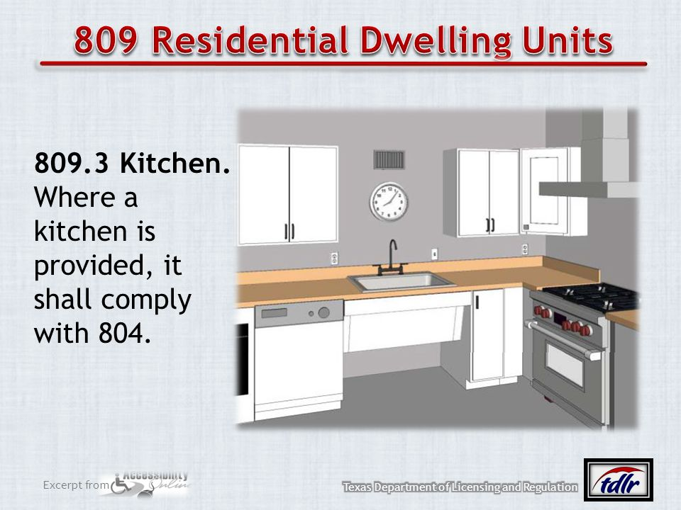 Excerpt from 809.3 Kitchen. Where a kitchen is provided, it shall comply with 804.