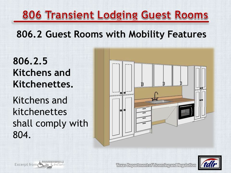 Excerpt from 806.2 Guest Rooms with Mobility Features 806.2.5 Kitchens and Kitchenettes. Kitchens and kitchenettes shall comply with 804.