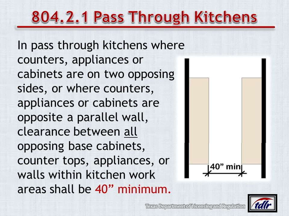 In pass through kitchens where counters, appliances or cabinets are on two opposing sides, or where counters, appliances or cabinets are opposite a pa