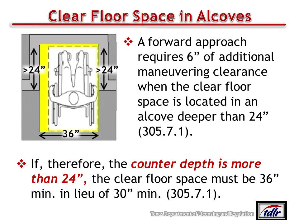 A forward approach requires 6 of additional maneuvering clearance when the clear floor space is located in an alcove deeper than 24 (305.7.1). If, the