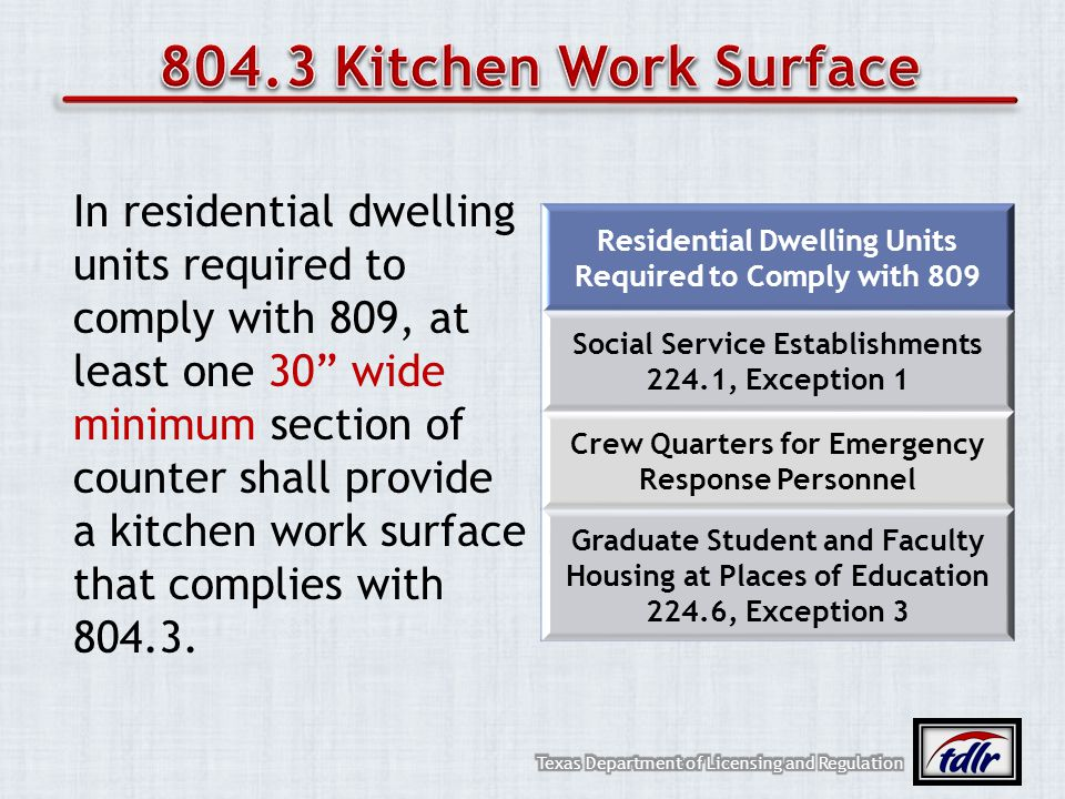 In residential dwelling units required to comply with 809, at least one 30 wide minimum section of counter shall provide a kitchen work surface that c