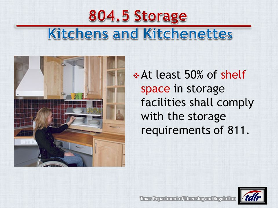 At least 50% of shelf space in storage facilities shall comply with the storage requirements of 811.
