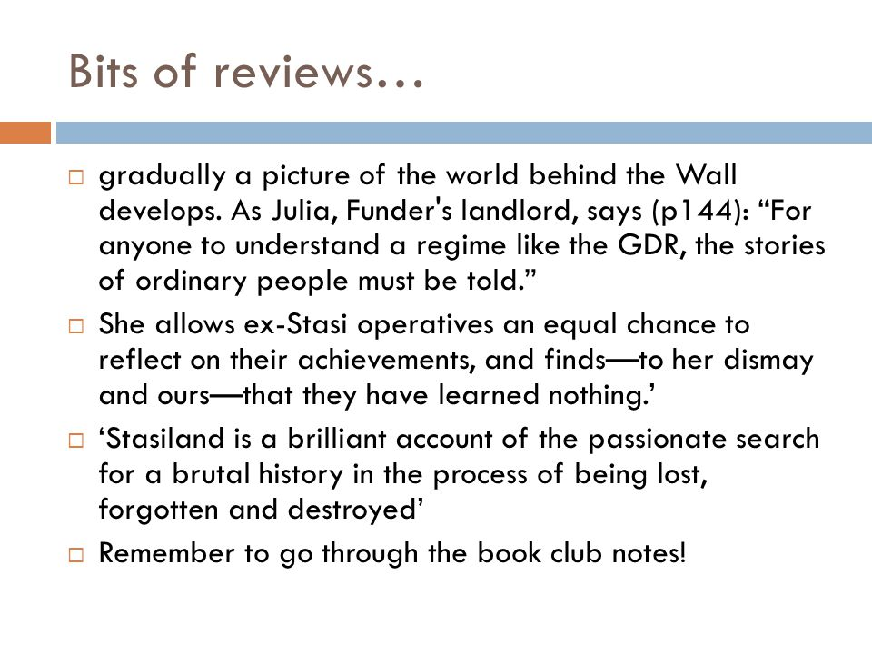 Bits of reviews… gradually a picture of the world behind the Wall develops.