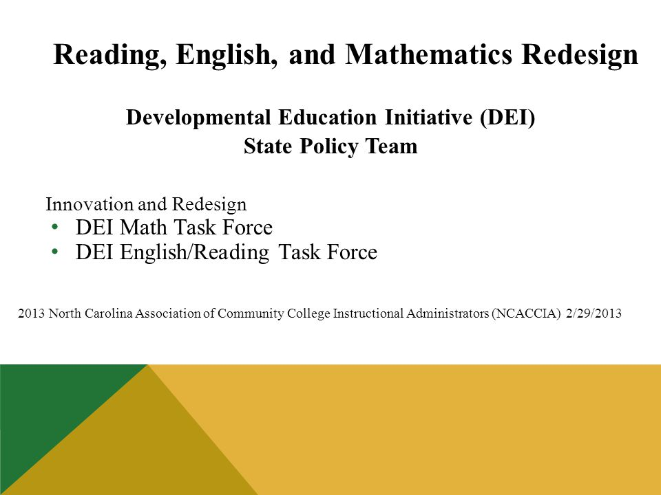 Reading, English, and Mathematics Redesign Developmental Education Initiative (DEI) State Policy Team Innovation and Redesign DEI Math Task Force DEI English/Reading Task Force 2013 North Carolina Association of Community College Instructional Administrators (NCACCIA) 2/29/2013
