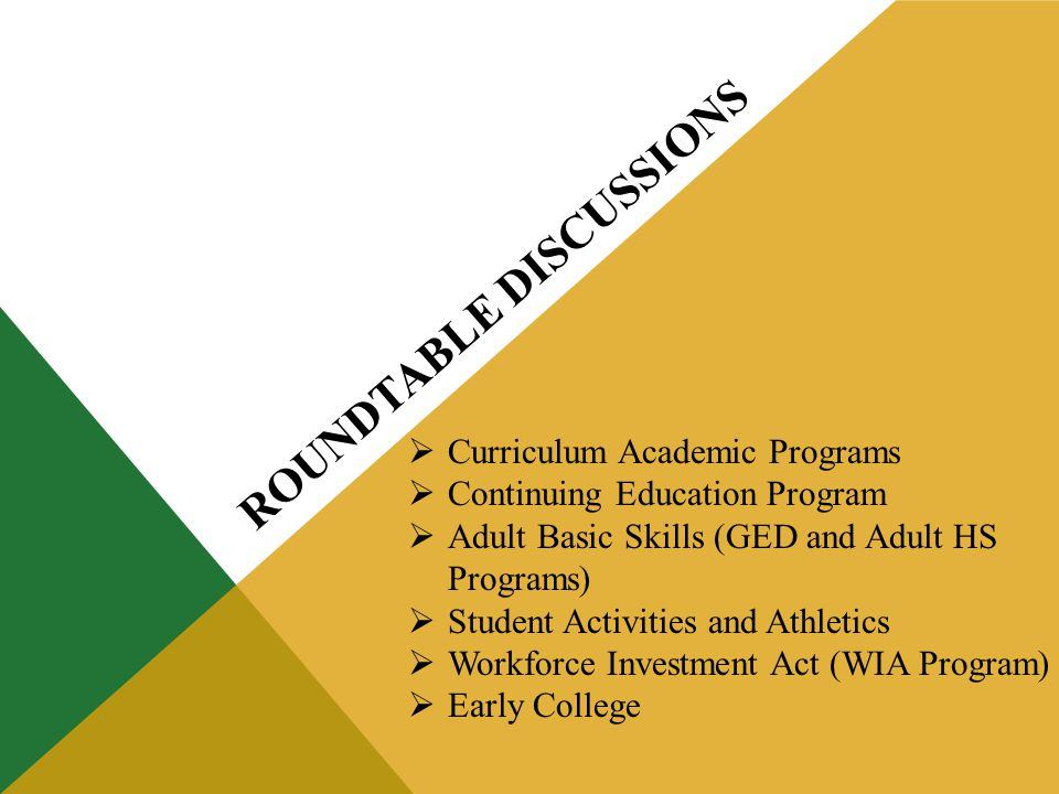 ROUNDTABLE DISCUSSIONS Curriculum Academic Programs Continuing Education Program Adult Basic Skills (GED and Adult HS Programs) Student Activities and Athletics Workforce Investment Act (WIA Program) Early College