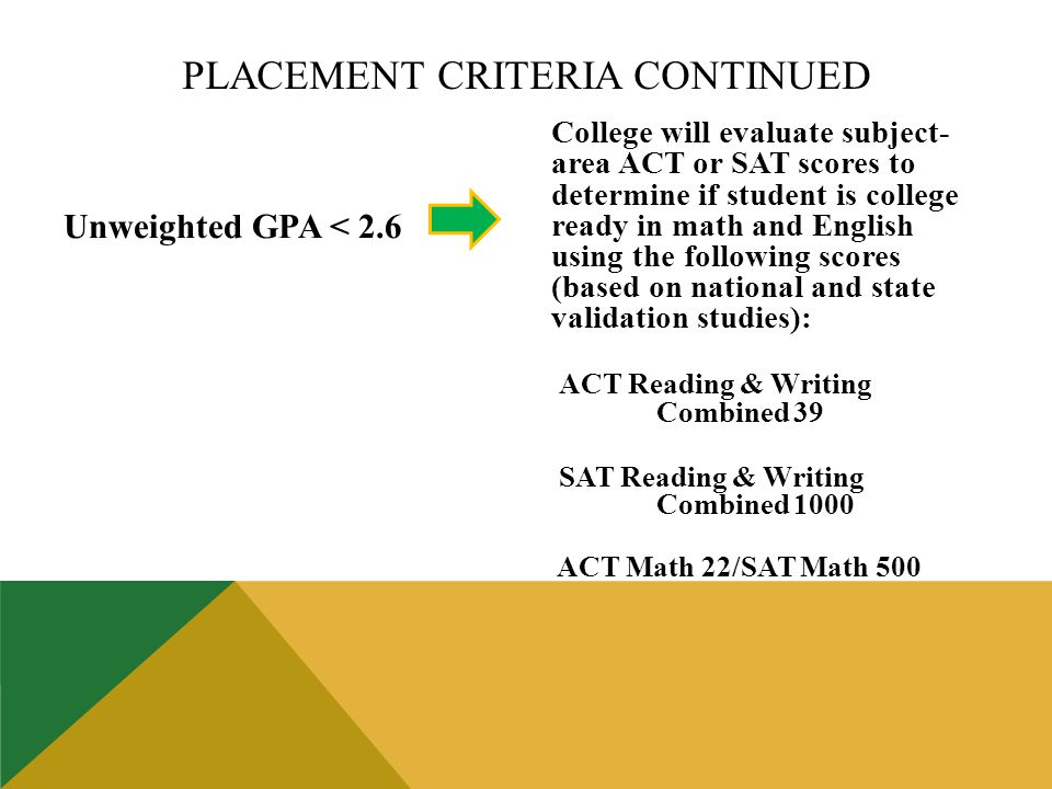 Unweighted GPA < 2.6 College will evaluate subject- area ACT or SAT scores to determine if student is college ready in math and English using the following scores (based on national and state validation studies): ACT Reading & Writing Combined 39 SAT Reading & Writing Combined 1000 ACT Math 22/SAT Math 500 PLACEMENT CRITERIA CONTINUED