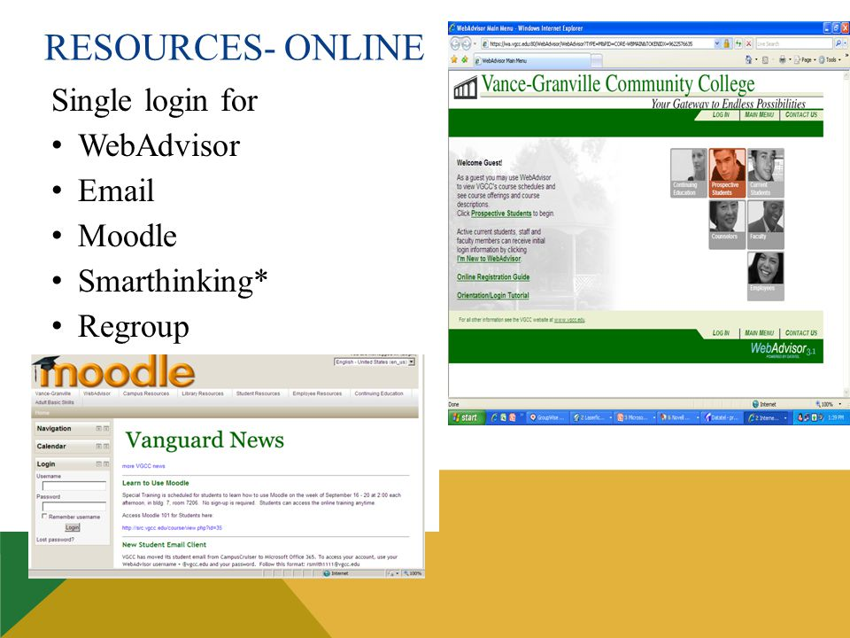 RESOURCES- ONLINE Single login for WebAdvisor Email Moodle Smarthinking* Regroup