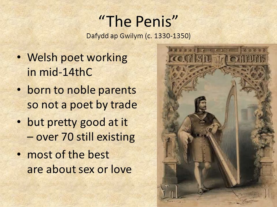 The Penis Dafydd ap Gwilym (c. 1330-1350) Welsh poet working in mid-14thC born to noble parents so not a poet by trade but pretty good at it – over 70