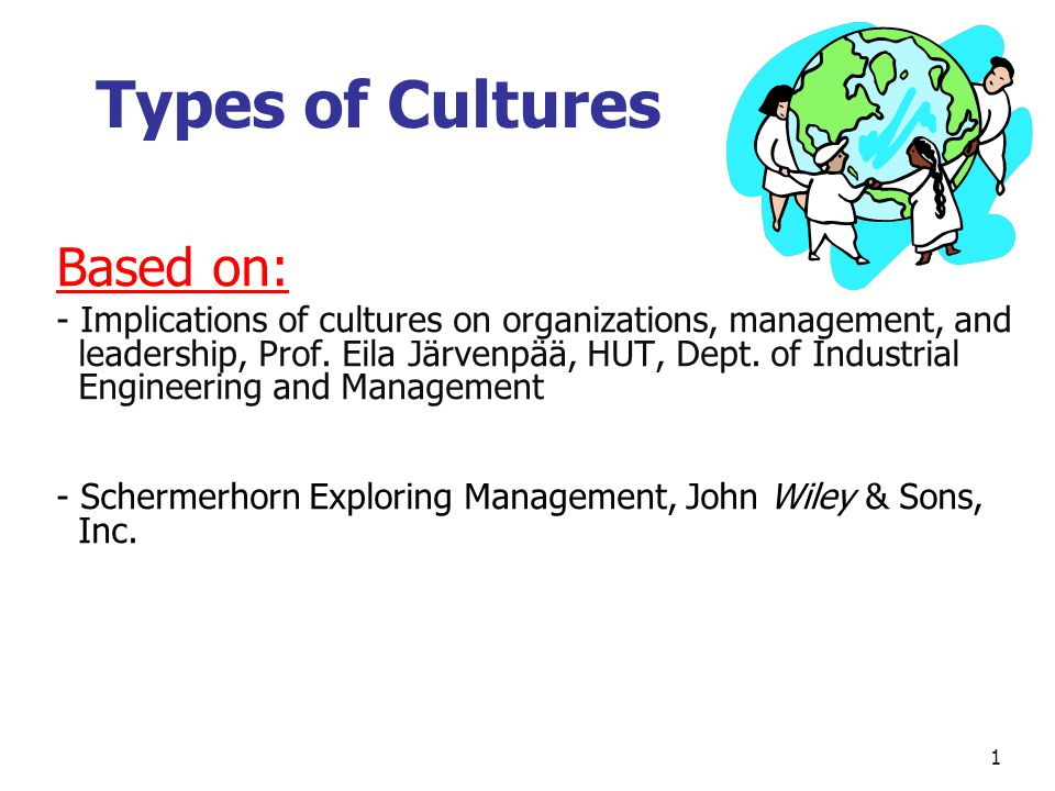 Types of Cultures Based on: - Implications of cultures on organizations, management, and leadership, Prof.