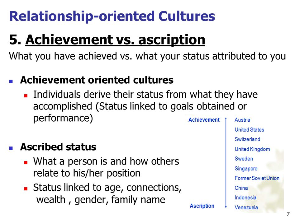 5. Achievement vs. ascription What you have achieved vs. what your status attributed to you Achievement oriented cultures Individuals derive their sta