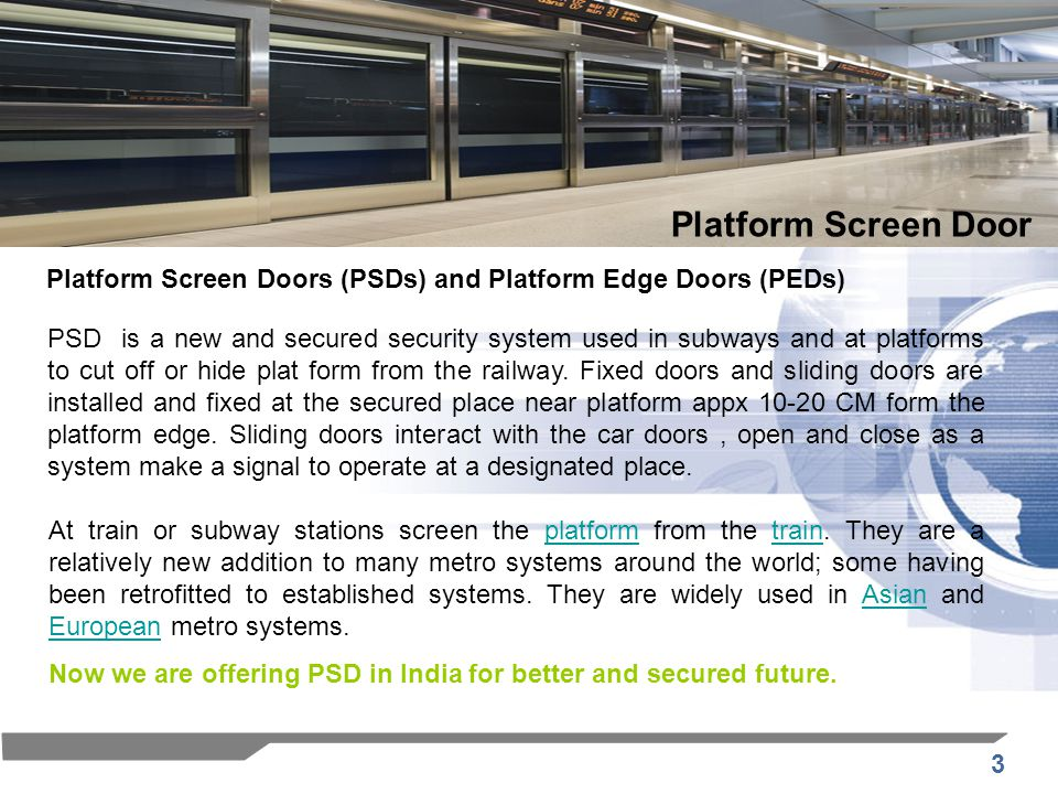 14 P D S E l e m e n t s Platform Screen Door