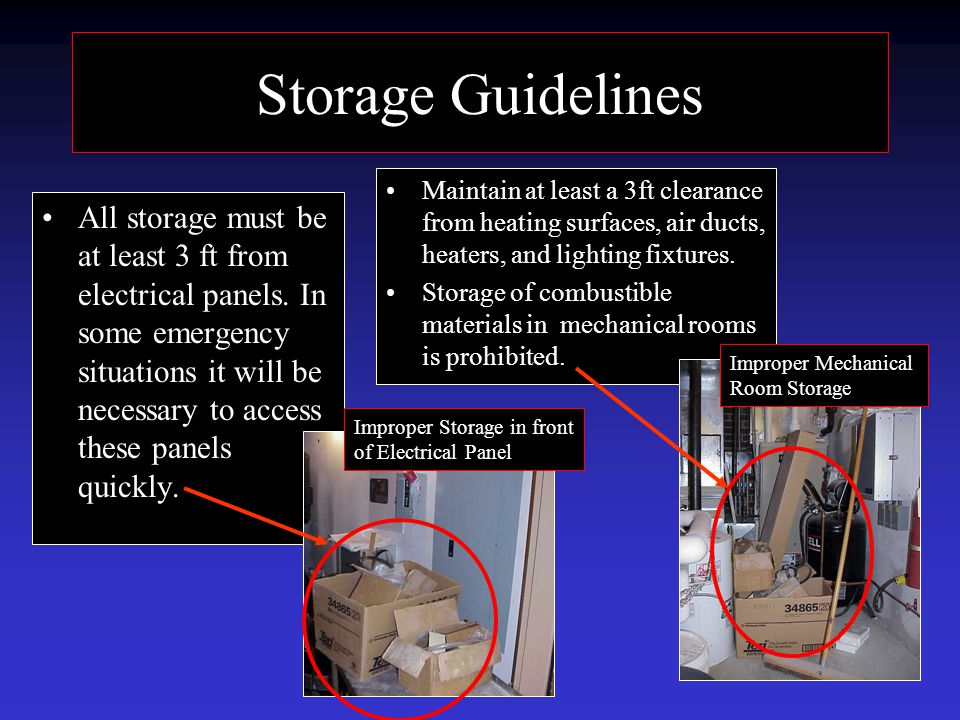Storage Guidelines All storage must be at least 3 ft from electrical panels.