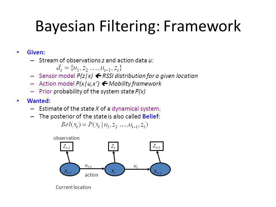 Bayesian Filtering: Framework Given: – Stream of observations z and action data u: – Sensor model P(z|x) RSSI distribution for a given location – Action model P(x|u,x) Mobility framework – Prior probability of the system state P(x) Wanted: – Estimate of the state X of a dynamical system.