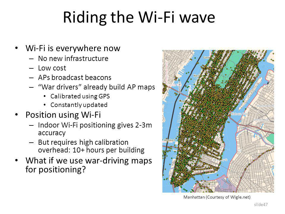 slide47 Riding the Wi-Fi wave Wi-Fi is everywhere now – No new infrastructure – Low cost – APs broadcast beacons – War drivers already build AP maps Calibrated using GPS Constantly updated Position using Wi-Fi – Indoor Wi-Fi positioning gives 2-3m accuracy – But requires high calibration overhead: 10+ hours per building What if we use war-driving maps for positioning.