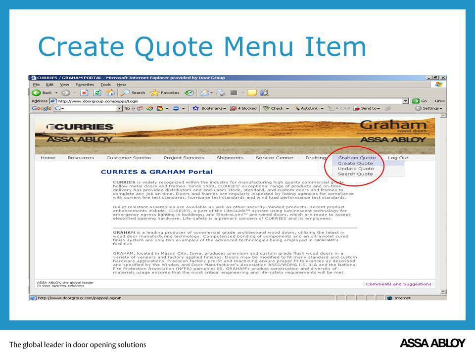 Create Quote Menu Item