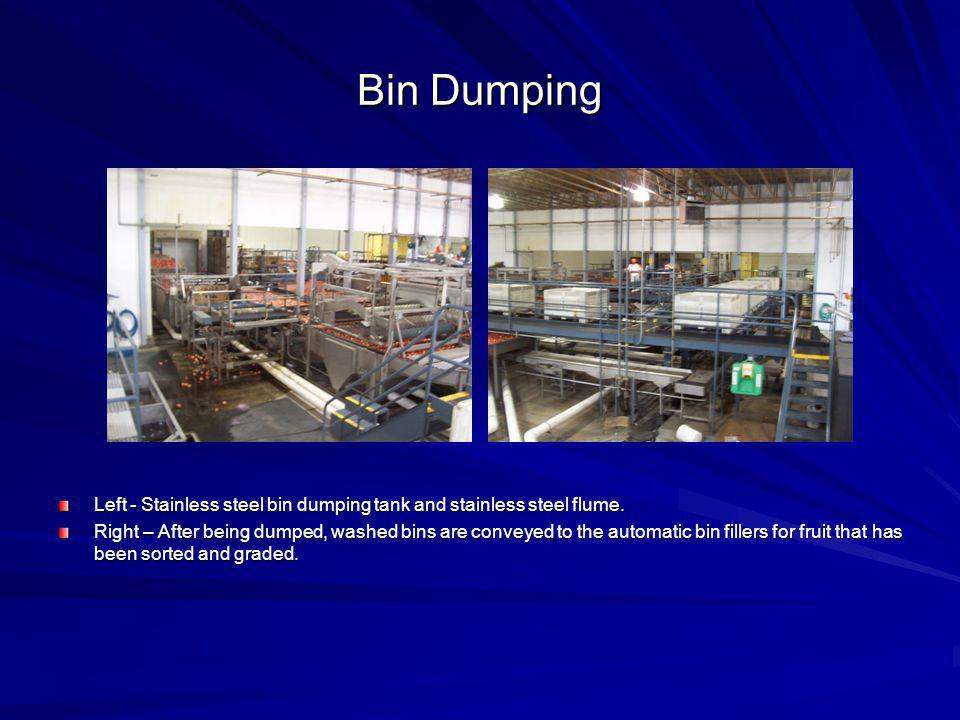 Bin Dumping Left - Stainless steel bin dumping tank and stainless steel flume. Right – After being dumped, washed bins are conveyed to the automatic b