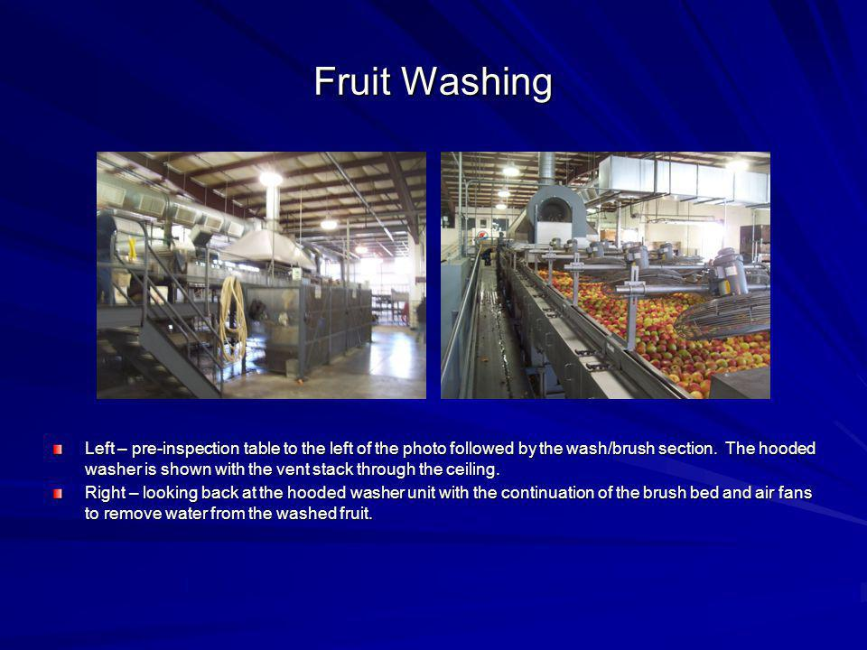 Fruit Washing Left – pre-inspection table to the left of the photo followed by the wash/brush section. The hooded washer is shown with the vent stack