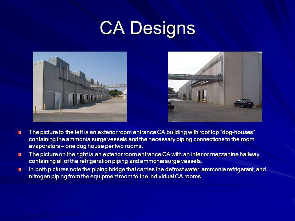 CA Designs The picture to the left is an exterior room entrance CA building with roof top dog-houses containing the ammonia surge vessels and the nece