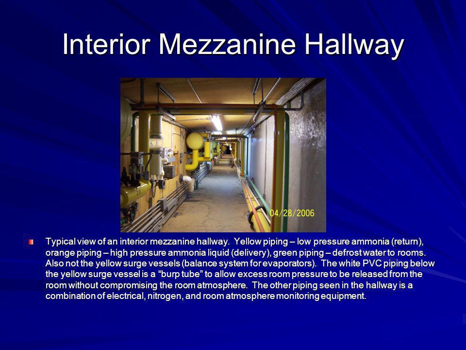 Interior Mezzanine Hallway Typical view of an interior mezzanine hallway. Yellow piping – low pressure ammonia (return), orange piping – high pressure