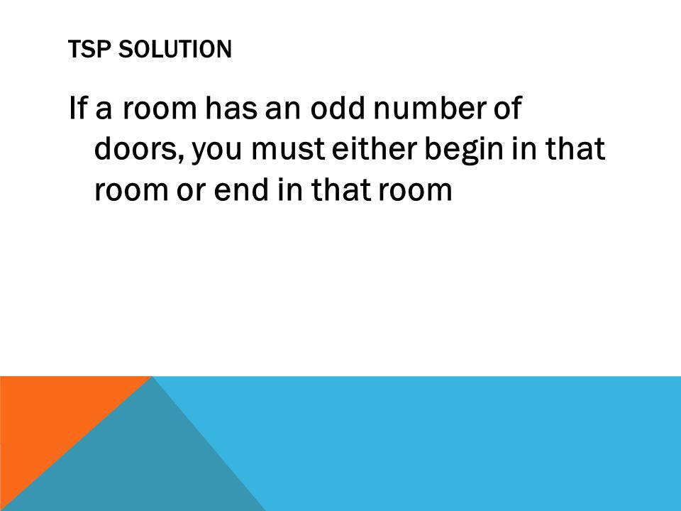 TSP SOLUTION If a room has an odd number of doors, you must either begin in that room or end in that room