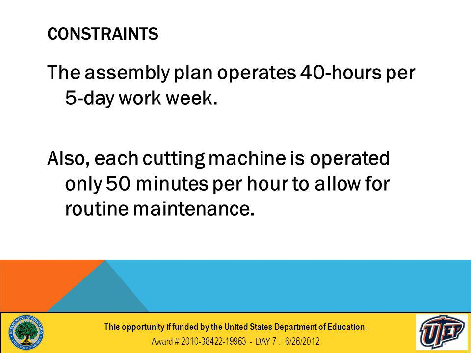 CONSTRAINTS The assembly plan operates 40-hours per 5-day work week.