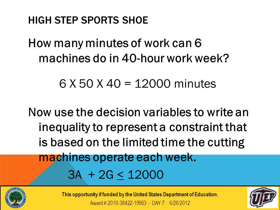 HIGH STEP SPORTS SHOE How many minutes of work can 6 machines do in 40-hour work week.