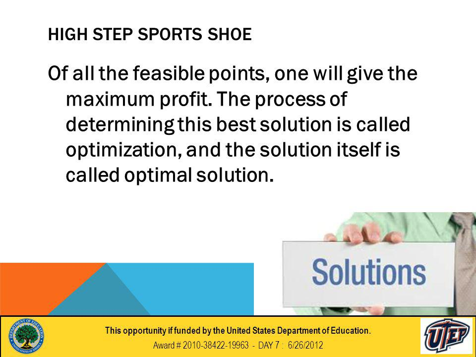 HIGH STEP SPORTS SHOE Of all the feasible points, one will give the maximum profit.