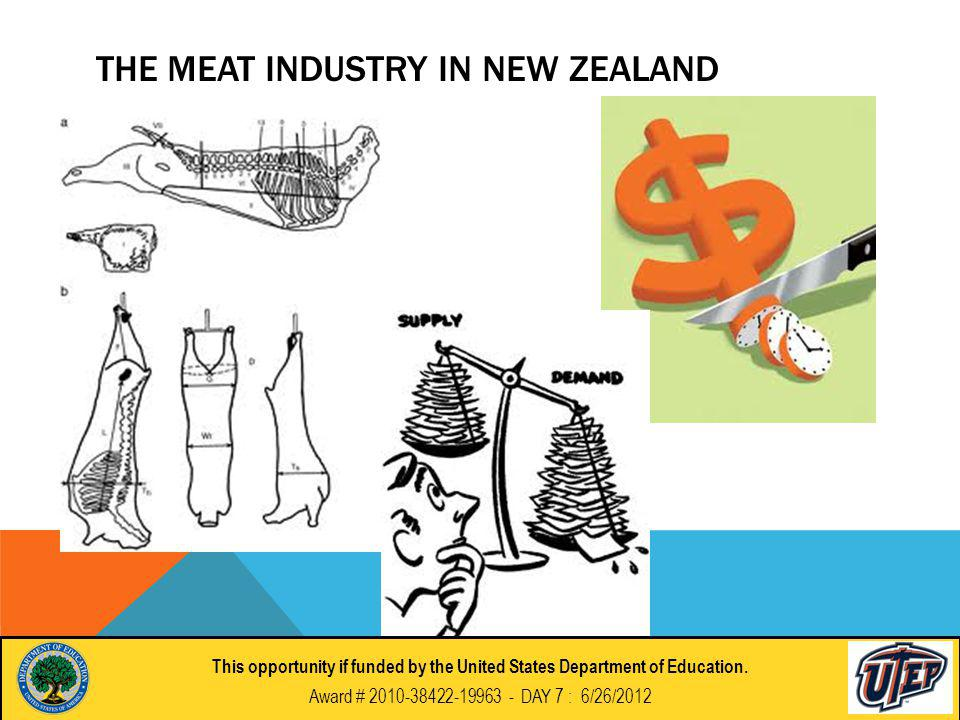 THE MEAT INDUSTRY IN NEW ZEALAND This opportunity if funded by the United States Department of Education.