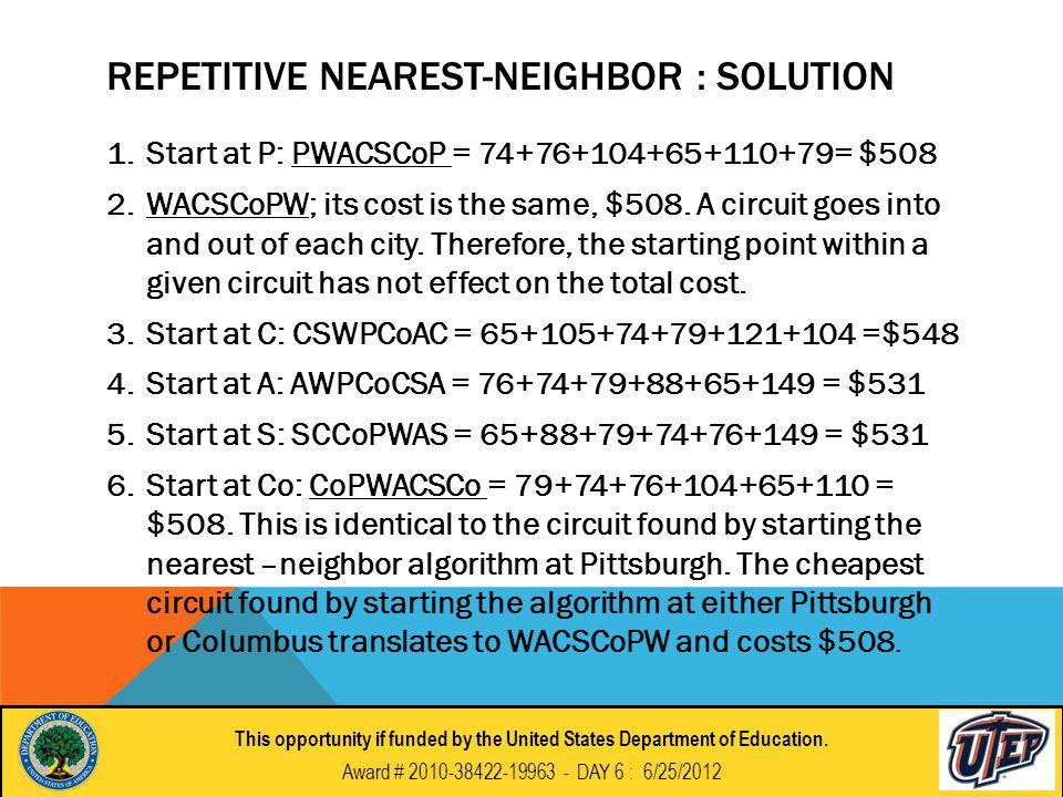 REPETITIVE NEAREST-NEIGHBOR : SOLUTION 1.Start at P: PWACSCoP = 74+76+104+65+110+79= $508 2.WACSCoPW; its cost is the same, $508.