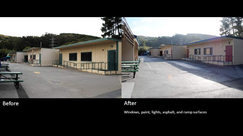Windows, paint, lights, asphalt, and ramp surfaces Before After