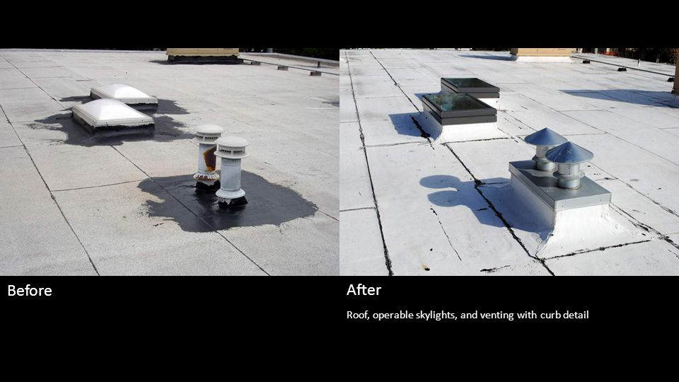 Roof, operable skylights, and venting with curb detail Before After