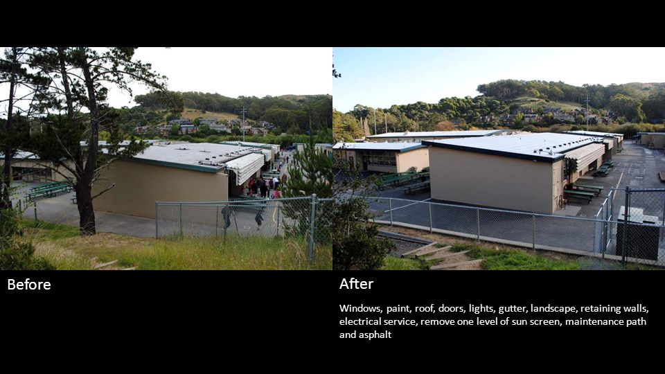 Windows, paint, roof, doors, lights, gutter, landscape, ramp, server room HVAC, water fountain and railings Before After