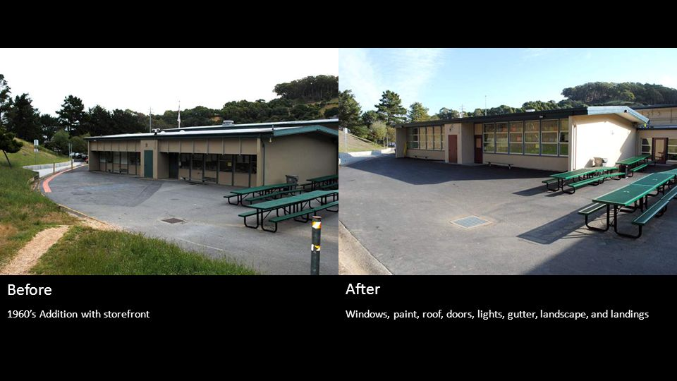 Phase 1 - windows, paint, roof, doors, gutter, and landings at doors, new bell system.