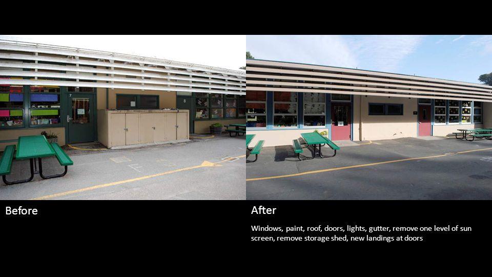 Paint, roof, doors, lights, gutter, landscape, larger landing under lunch table Before After