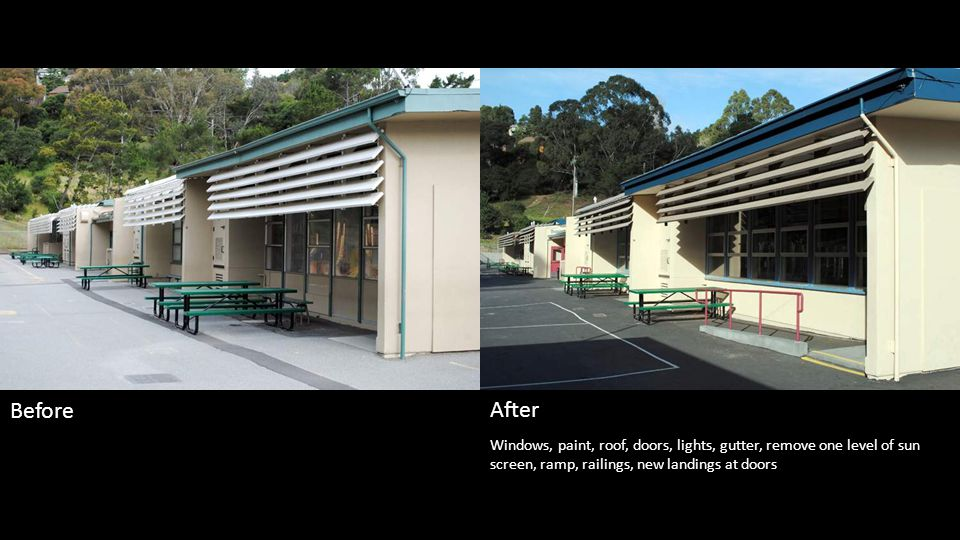 Windows, paint, roof, doors, lights, gutter, slurry seal and striping Before After
