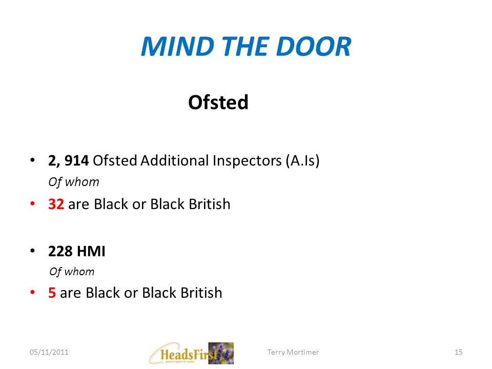 MIND THE DOOR Ofsted 2, 914 Ofsted Additional Inspectors (A.Is) Of whom 32 are Black or Black British 228 HMI Of whom 5 are Black or Black British 05/