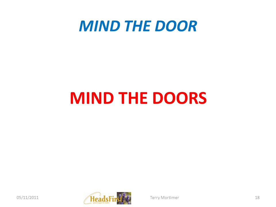 MIND THE DOOR MIND THE DOORS 05/11/201118Terry Mortimer